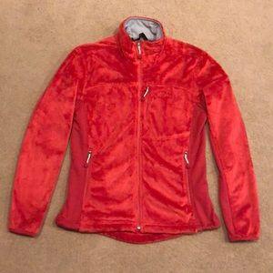 Red fuzzy zip up jacket